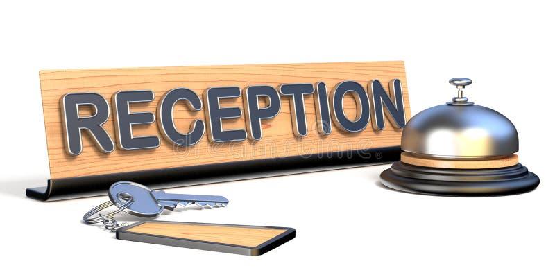 Les clés, la cloche de réception et la réception signent 3D illustration de vecteur