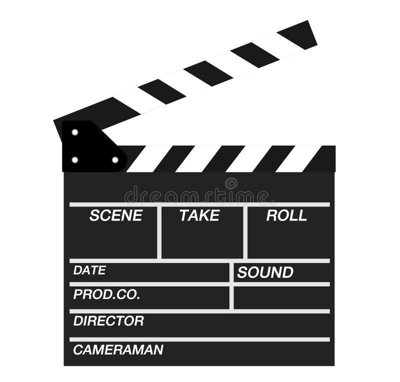 Les clapets de film s'ouvrent d'isolement sur le fond blanc Panneau montré d'ardoise illustration de vecteur