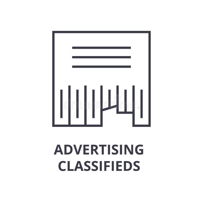 Les classifieds de la publicité rayent l'icône, signe d'ensemble, symbole linéaire, vecteur, illustration plate illustration libre de droits