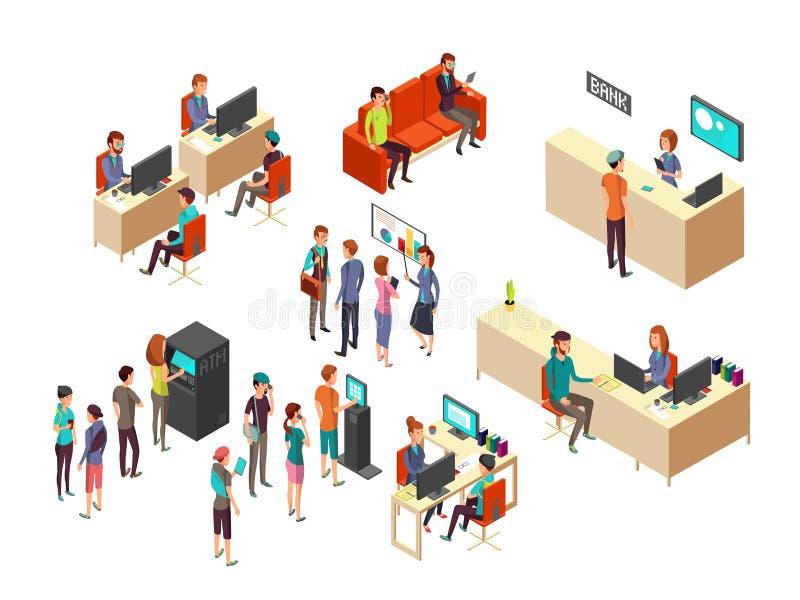 Les clients et les employés isométriques de banque pour des services bancaires 3d dirigent le concept illustration de vecteur