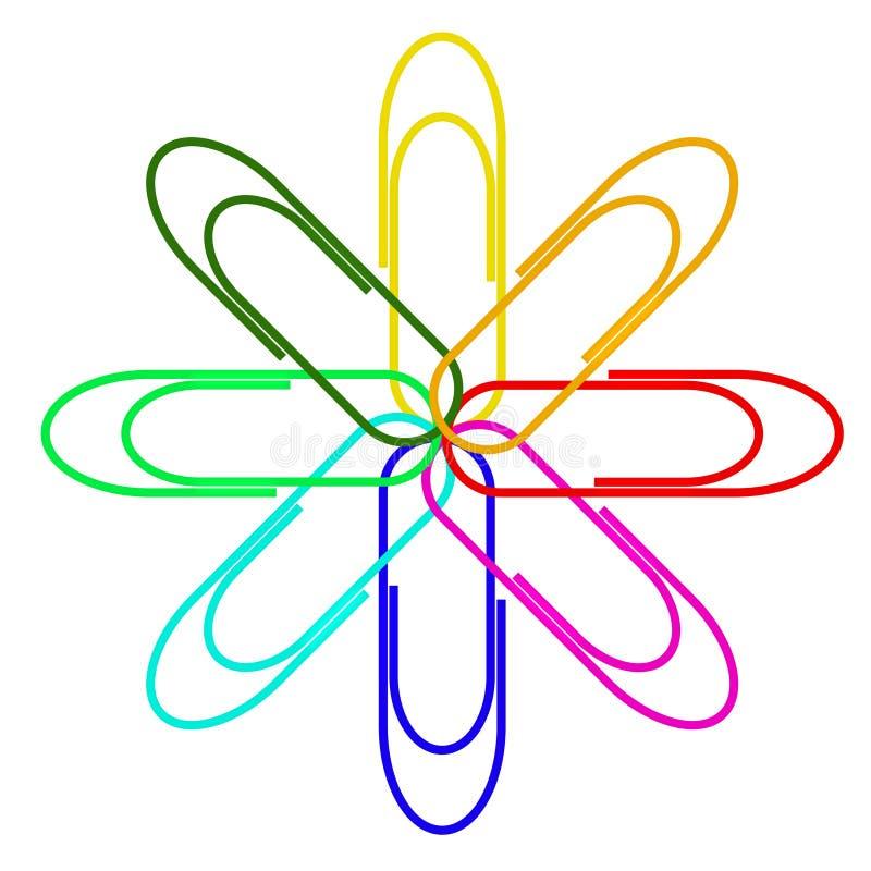 les clips de backgro ont isolé le blanc de papier multicolore illustration de vecteur
