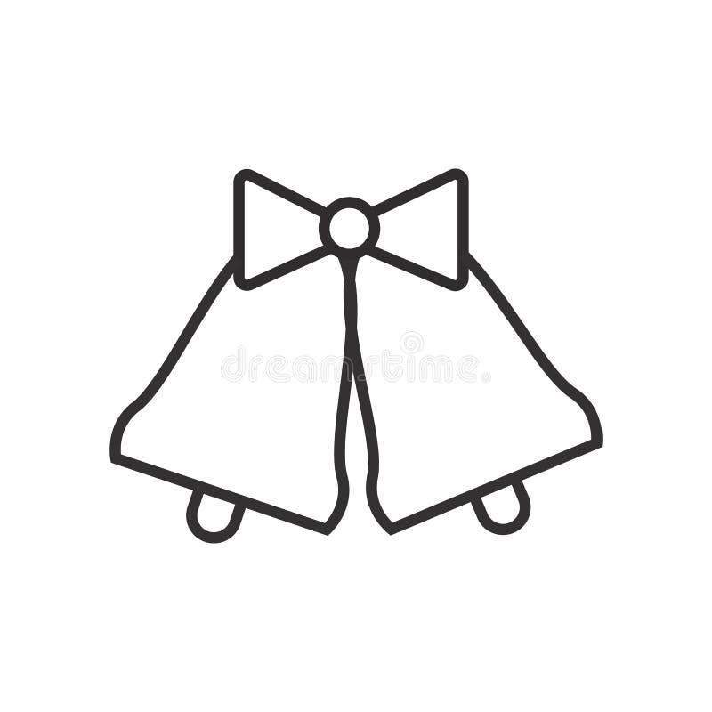 Les cloches de mariage dirigent la ligne icône, le signe, illustration sur le fond, courses editable illustration de vecteur