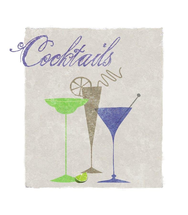 Les cocktails ont stylisé de rétros boissons avec la typographie illustration libre de droits