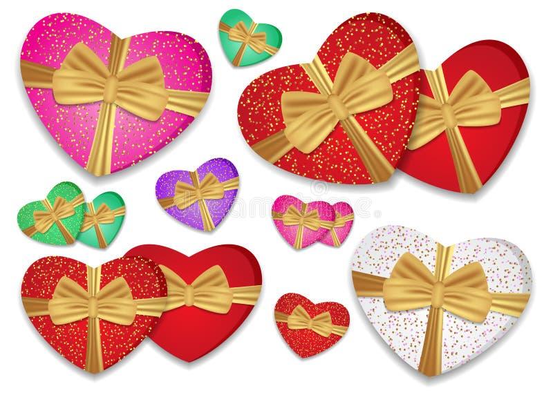 Les coeurs colorés réglés ont attaché le ruban d'or avec un arc Boîte sous forme de coeur Vecteur illustration stock