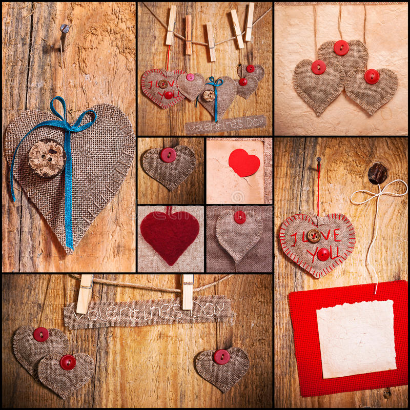 Les coeurs d'amour de Valentines de collage de coeur ont placé le vieux bois de papier de tissu images libres de droits