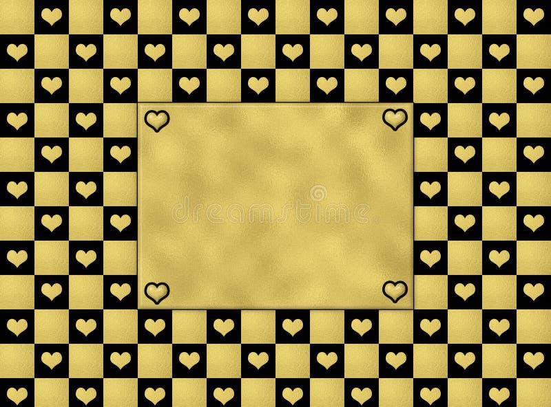 Les coeurs de noir et d'or modèlent sans couture, fond de texture illustration stock