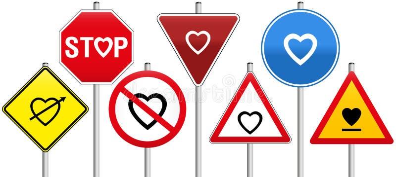 Les coeurs de panneaux routiers aiment la réglementation de la circulation de règles illustration stock