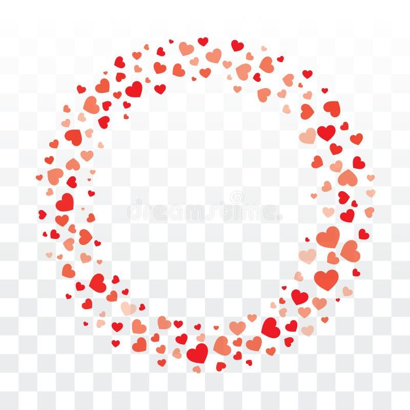 Les coeurs de valentines tressent sur le fond transparent avec la station thermale de copie illustration libre de droits