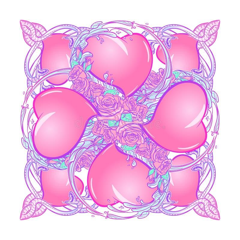 Les coeurs et les serpents de roses ont arrangé dans un modèle carré Conception de fête de jour du ` s de St Valentine illustration stock