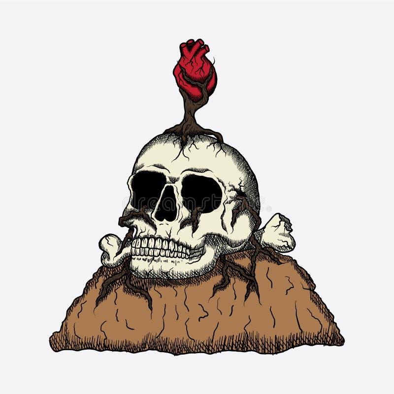 Les coeurs morts de crâne illustration de vecteur