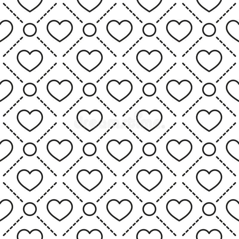 Les coeurs ont dépouillé le modèle sans couture géométrique illustration libre de droits
