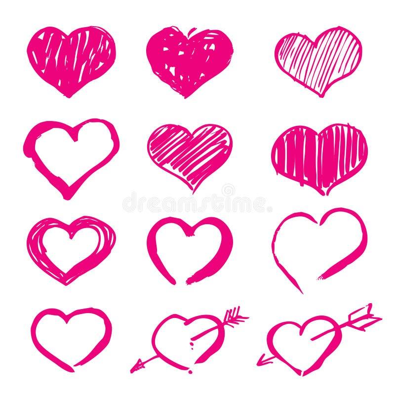 Les coeurs roses ont placé des icônes illustration stock