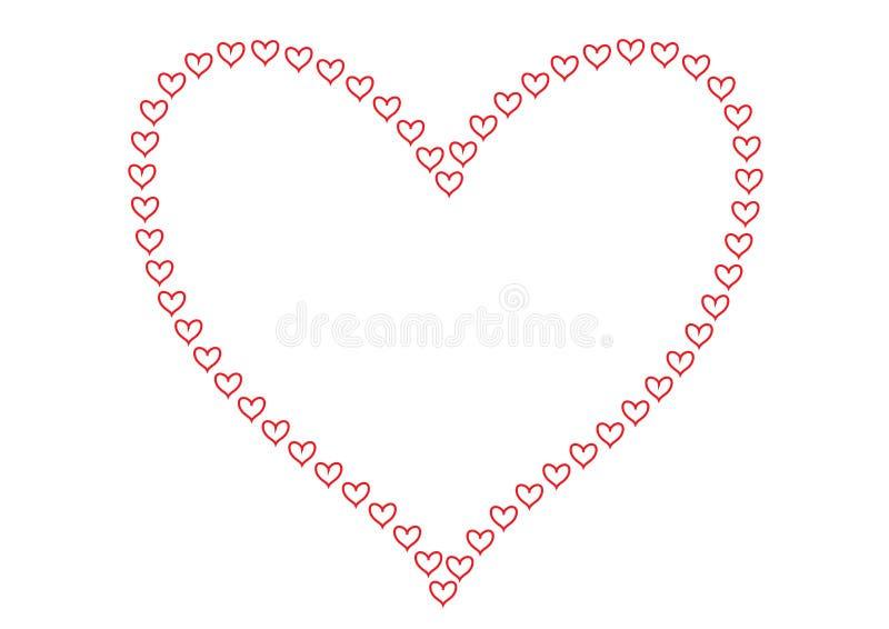 Les coeurs rouges comme contours modèlent former la forme d'un modèle aligné de grand coeur et d'isolement à un arrière-plan blan illustration de vecteur
