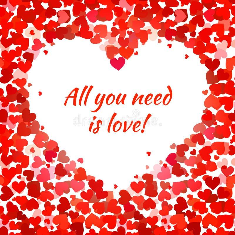 Les coeurs rouges et tout que vous avez besoin est expression d'amour illustration stock
