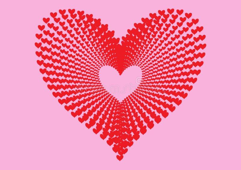 Les coeurs rouges modèlent former la forme d'un grand coeur dans la perspective concentrique de modèle d'alignement et l'ont isol illustration libre de droits