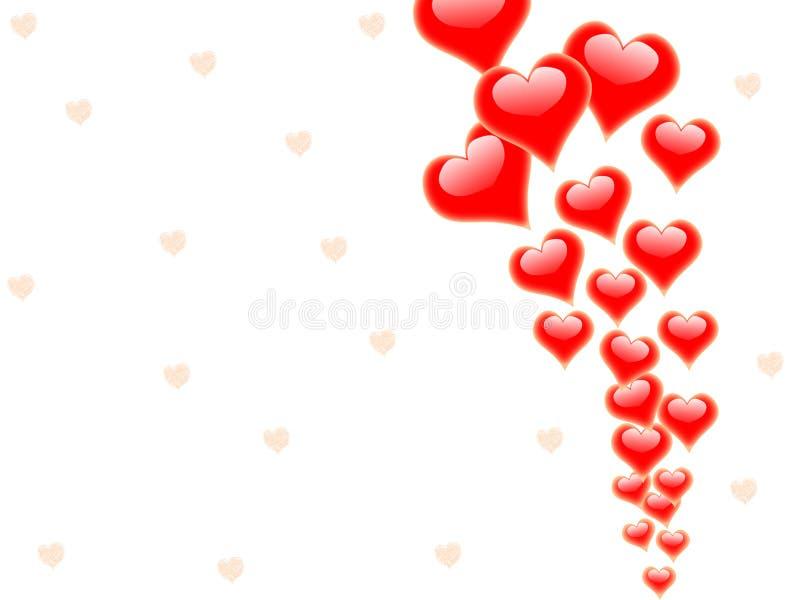 Les coeurs sur le fond montrent la passion Romance illustration stock