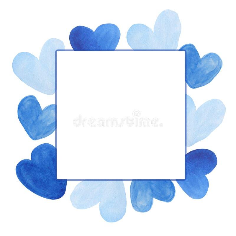 Les coeurs tirés par la main d'aquarelle encadrent le fond illustration stock