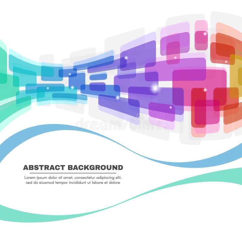 Les coins arrondis et la ligne colorés ondulent le fond abstrait illustration stock