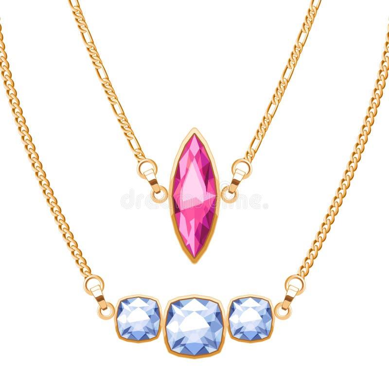 Les colliers de chaîne d'or ont placé avec des pendants de pierres gemmes de rubis et de diamants illustration de vecteur