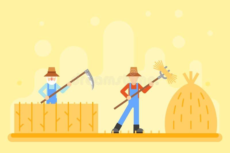 Les collines rurales de village d'icône de récolte de moissonneur de foin d'automne mettent en place l'illustration plate de vect illustration de vecteur