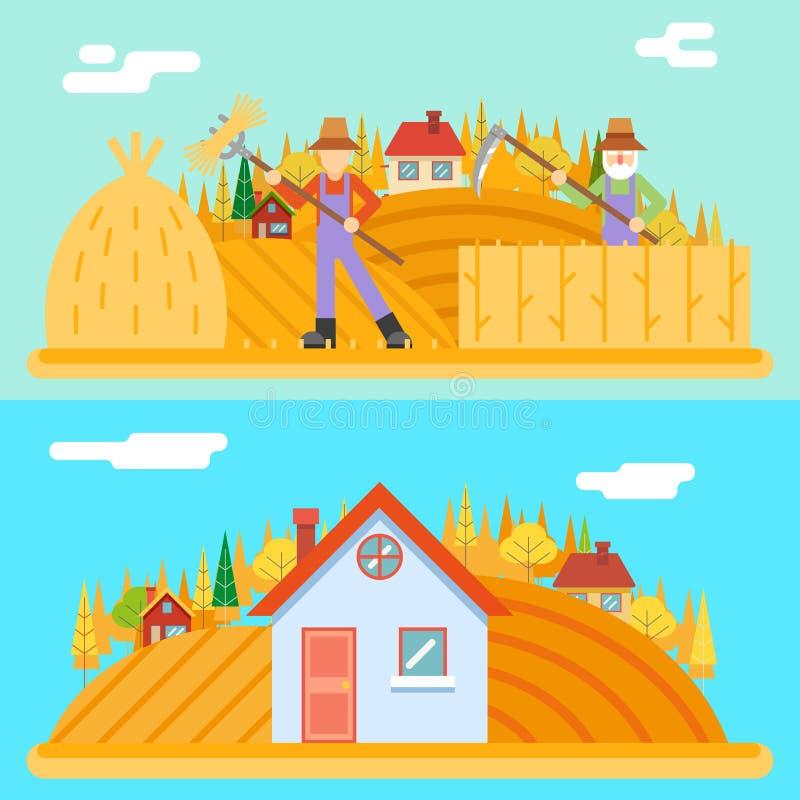 Les collines rurales de village d'icône de récolte de moissonneur de foin d'automne mettent en place l'illustration plate de vect illustration libre de droits