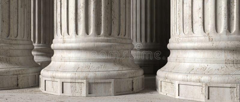 Les colonnes de marbre en pierre classiques, se ferment vers le haut de la vue illustration 3D illustration libre de droits