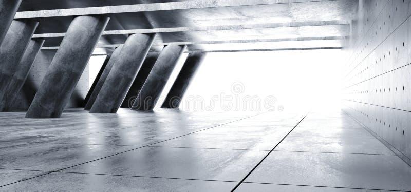 Les colonnes vides foncées de Hall Underground Cement Grunge Concrete de garage ont incliné le style élégant moderne étranger Hal illustration de vecteur