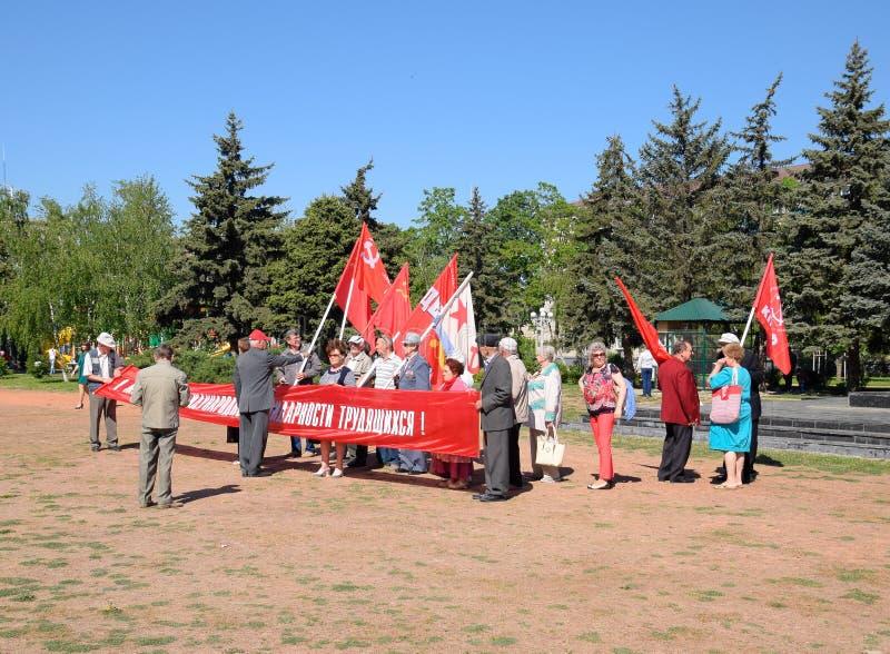 Les communistes se préparent à la marche de mayday Célébration premier le mai, le jour du ressort et du travail Mayday images libres de droits