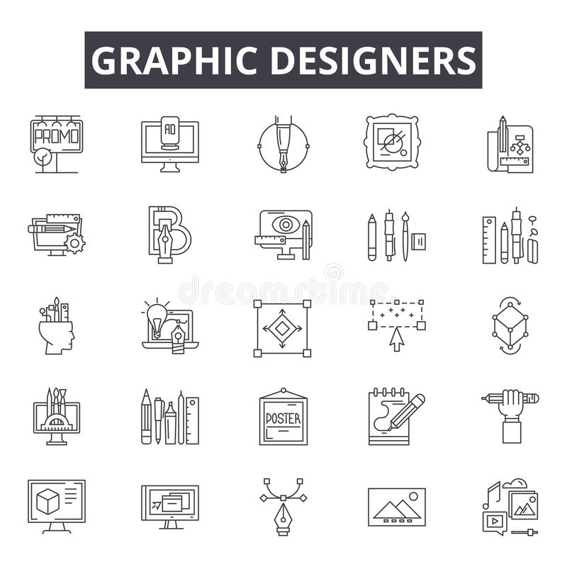 Les concepteurs rayent des icônes, signes, ensemble de vecteur, concept d'illustration d'ensemble illustration libre de droits