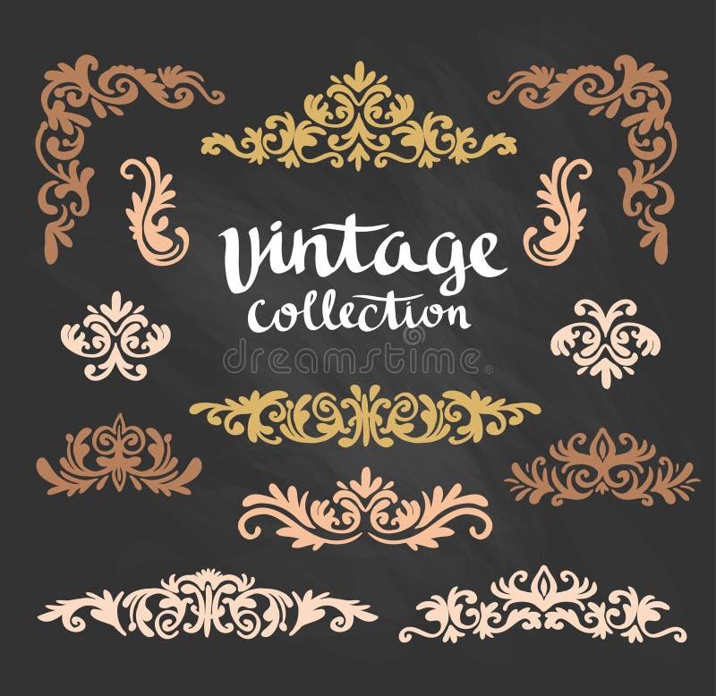 Les conceptions calligraphiques d'or ornemental de vintage ont placé sur le tableau illustration stock