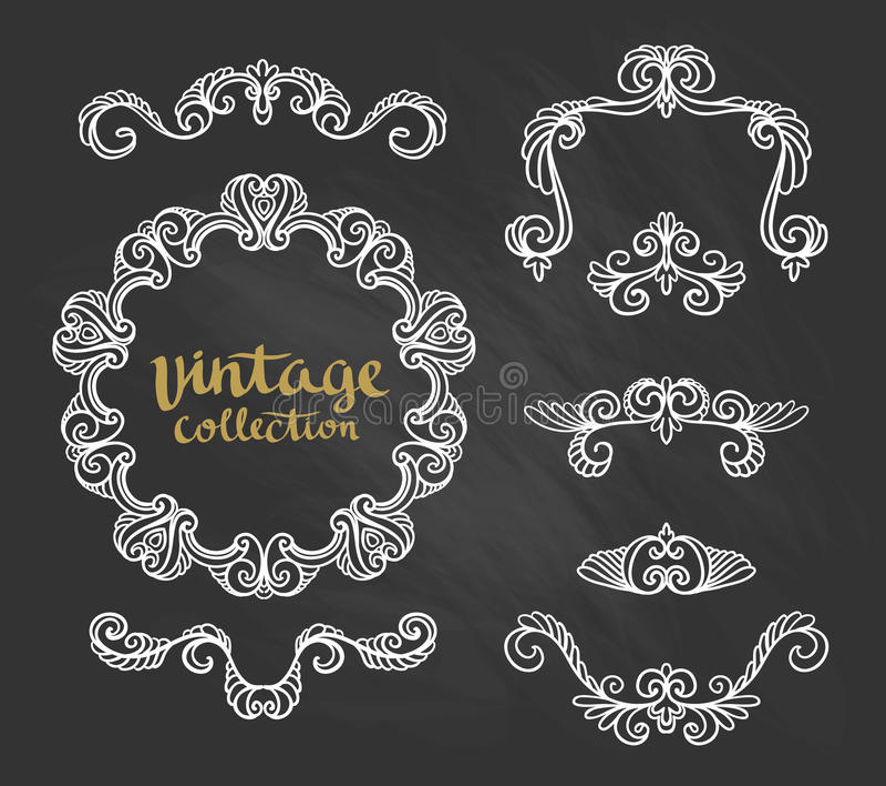 Les conceptions calligraphiques ornementales de vintage ont placé sur le tableau Illustration de vecteur illustration libre de droits