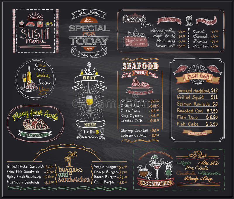 Les conceptions de tableau noir de liste de menu de craie ont placé pour le café ou le restaurant illustration libre de droits