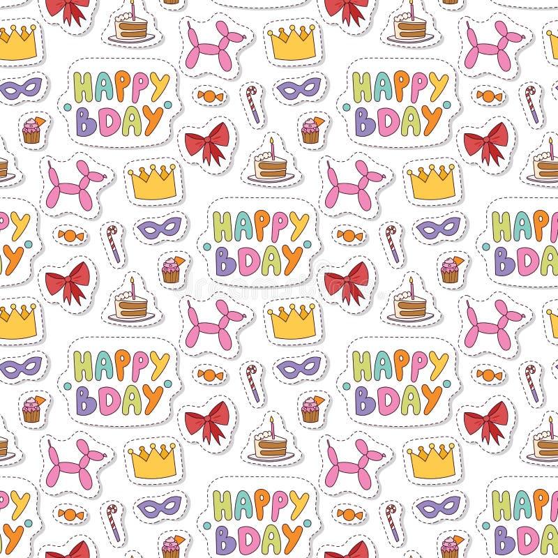 Les confettis de divertissement de c?l?bration de partie de joyeux anniversaire pr?sentent la d?coration de ballon pour l'anniver illustration de vecteur