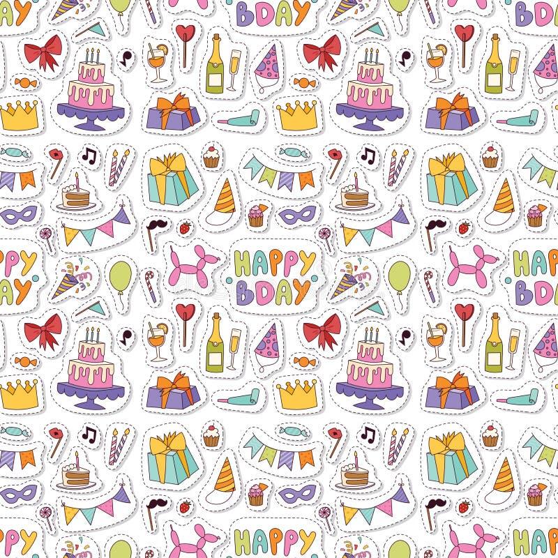 Les confettis de divertissement de c?l?bration de partie de joyeux anniversaire pr?sentent la d?coration de ballon pour l'anniver illustration libre de droits