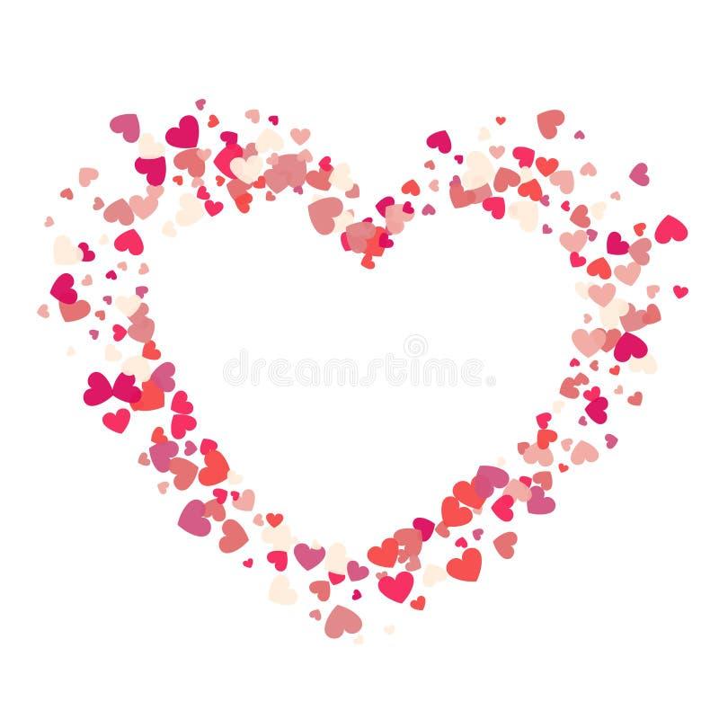 Les confettis de rose de vecteur de forme de coeur éclaboussent du cadre blanc i de coeur illustration de vecteur