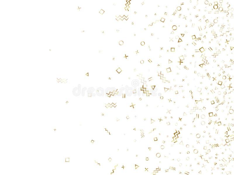 Les confettis g?om?triques de style de Memphis dirigent le fond des formes de place de cercle de triangle, lignes onduleuses de c illustration stock