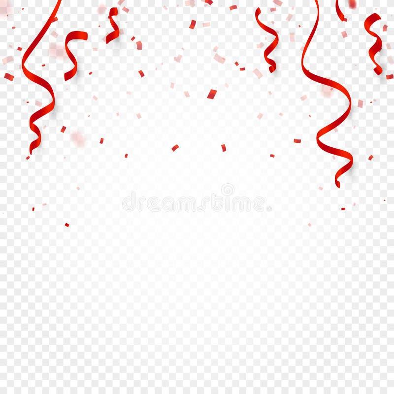 Les confettis, la serpentine ou les rubans rouges tombant sur le fond transparent blanc dirigent l'illustration Partie, festival, illustration de vecteur