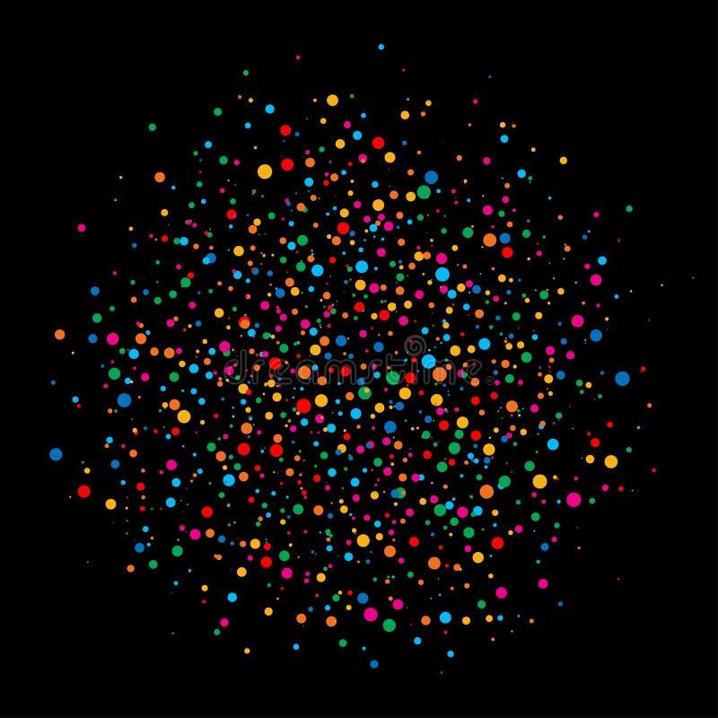 Les confettis lumineux colorés de cercle de couleurs d'arc-en-ciel arrondissent le papier d'isolement sur le fond noir illustration de vecteur