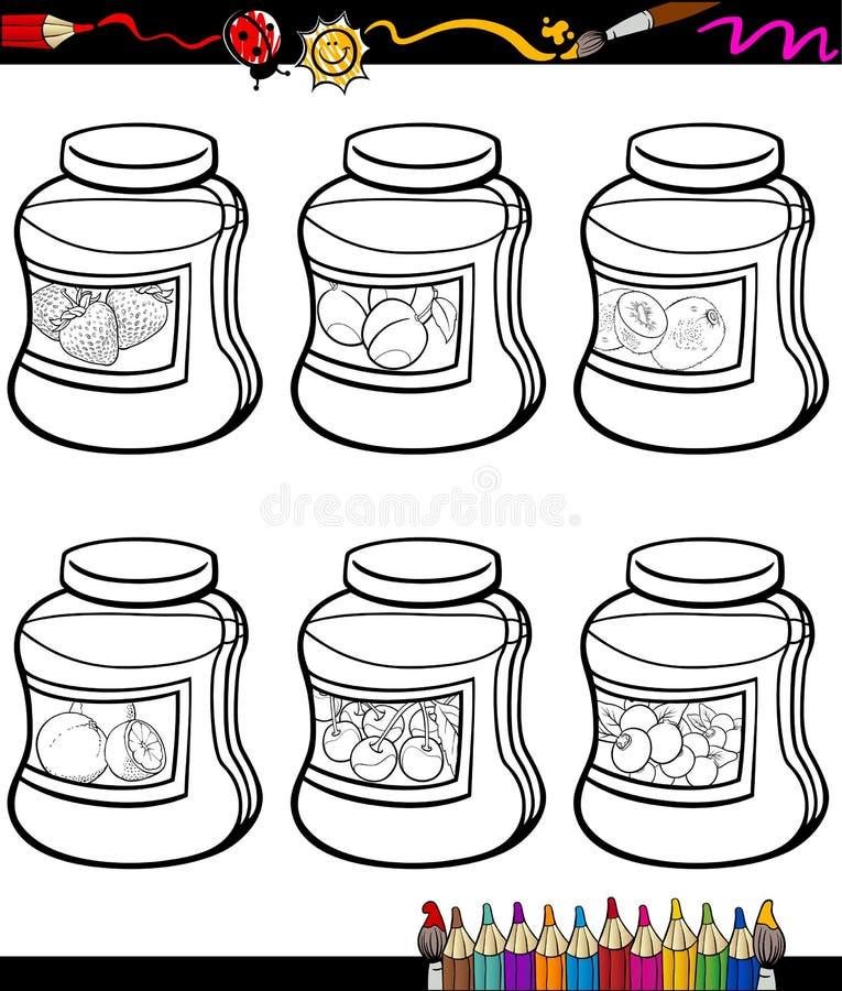 Les confitures dans des pots ont placé livre de coloriage de bande dessinée illustration stock