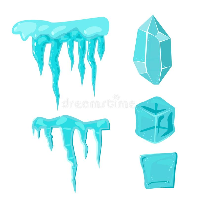 Les congères réalistes et les glaçons de calottes glaciaires cassés rapiècent le vecteur en cristal congelé froid de décor d'hive illustration de vecteur