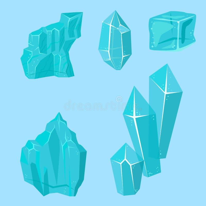 Les congères réalistes et les glaçons de calottes glaciaires cassés rapiècent le vecteur en cristal congelé froid de décor d'hive illustration stock