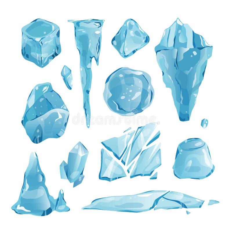 Les congères réalistes et les glaçons de calottes glaciaires cassés rapiècent le vecteur en cristal congelé froid de décor d'hive illustration libre de droits