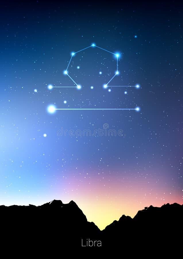 Les constellations de zodiaque de Balance signent avec la silhouette de paysage de forêt sur le beau ciel étoilé avec la galaxie  illustration stock