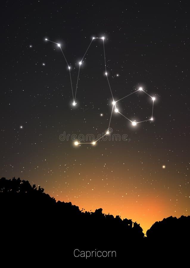 Les constellations de zodiaque de Capricorne signent avec la silhouette de paysage de forêt sur le beau ciel étoilé avec la galax illustration stock