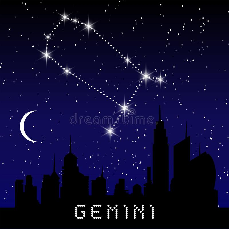 Les constellations de zodiaque de Gémeaux se connectent le beau ciel étoilé avec la galaxie et l'espace derrière Constellation de illustration stock