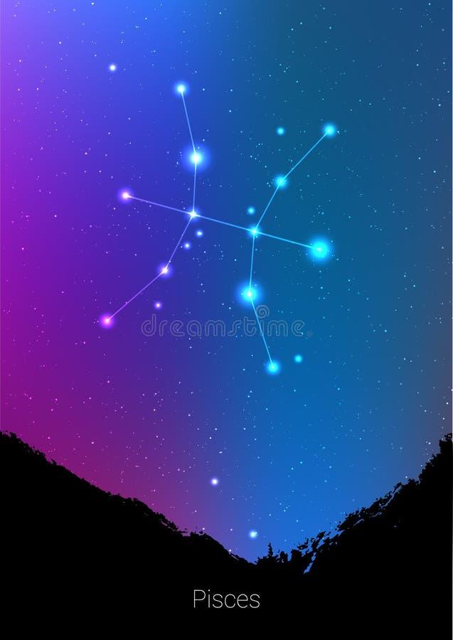 Les constellations de zodiaque de Poissons signent avec la silhouette de paysage de forêt sur le beau ciel étoilé avec la galaxie illustration stock