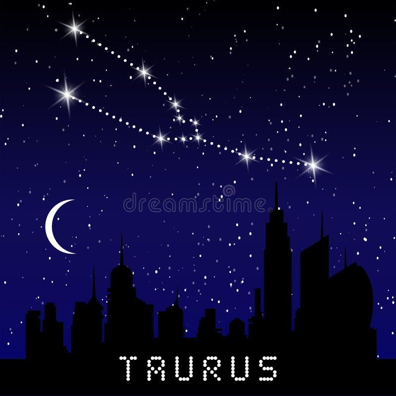 Les constellations de zodiaque de Taureau se connectent le beau ciel étoilé avec la galaxie et l'espace derrière Constellation de illustration de vecteur