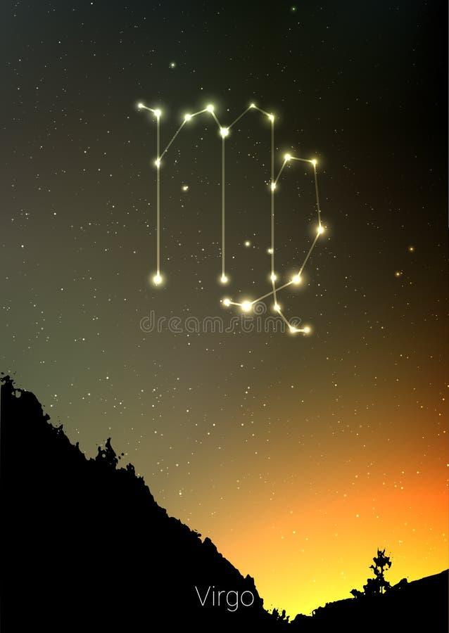 Les constellations de zodiaque de Vierge signent avec la silhouette de paysage de forêt sur le beau ciel étoilé avec la galaxie e illustration stock