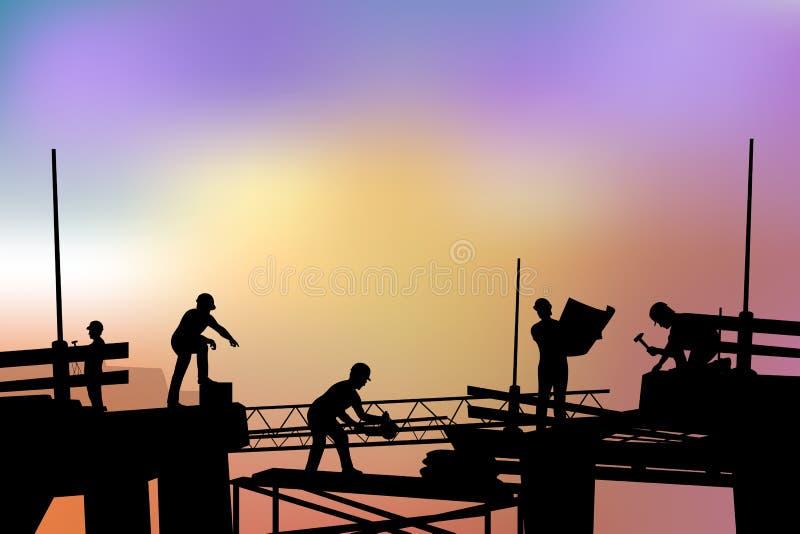 Les constructeurs silhouettent au coucher du soleil illustration stock