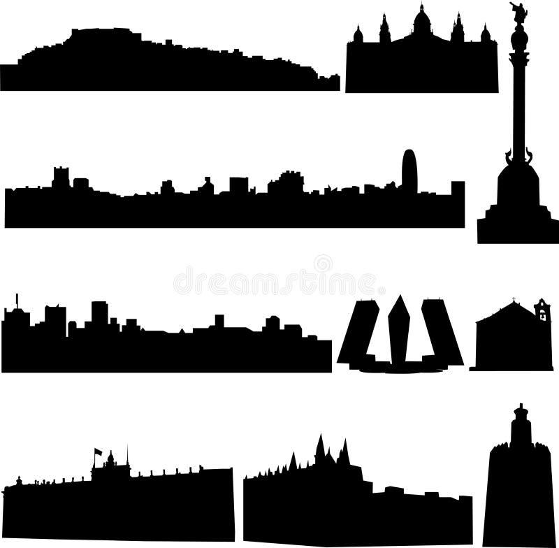 Les constructions célèbres de l'Espagne. illustration libre de droits
